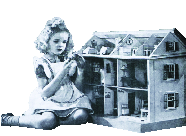 Image 1 / Girl playing with dollhouse, c. 1940. Print ad