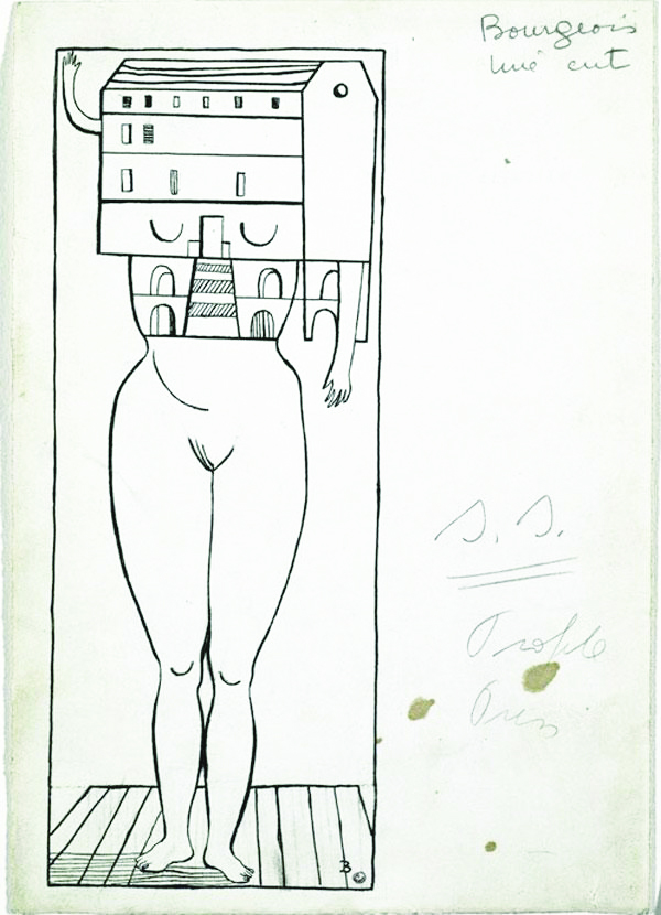 Image 21 / Louise Bourgeois, Femme Maison, 1947. Ink and pencil on paper. Solomon R. Guggenheim Museum, New York