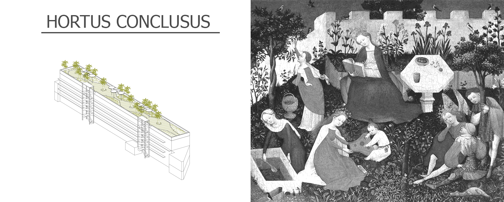 """The Hortus Conclusus."" Drawing by Lydia Karagiannaki and Vytautas Lelys."