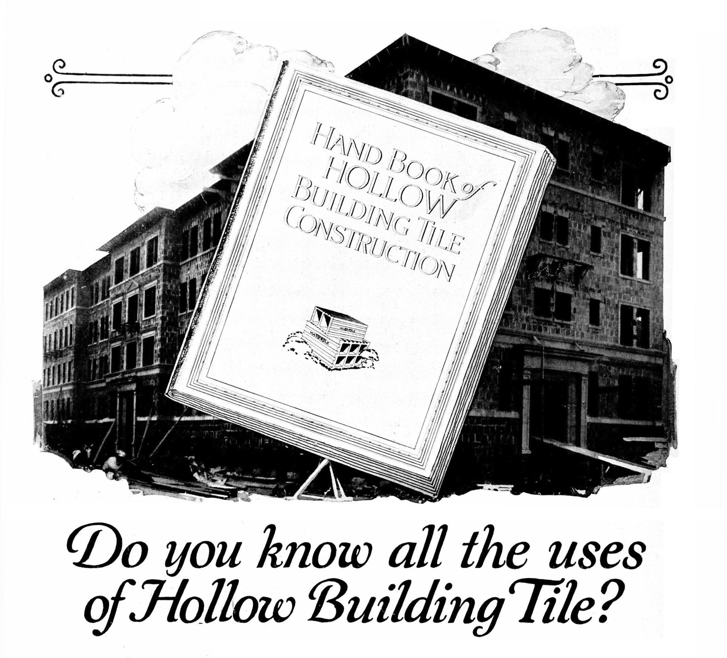 Advertisement for  Hand Book of Hollow Building Tile Construction . Image from  Western Architect  29, Vol. 1 (January 1920).