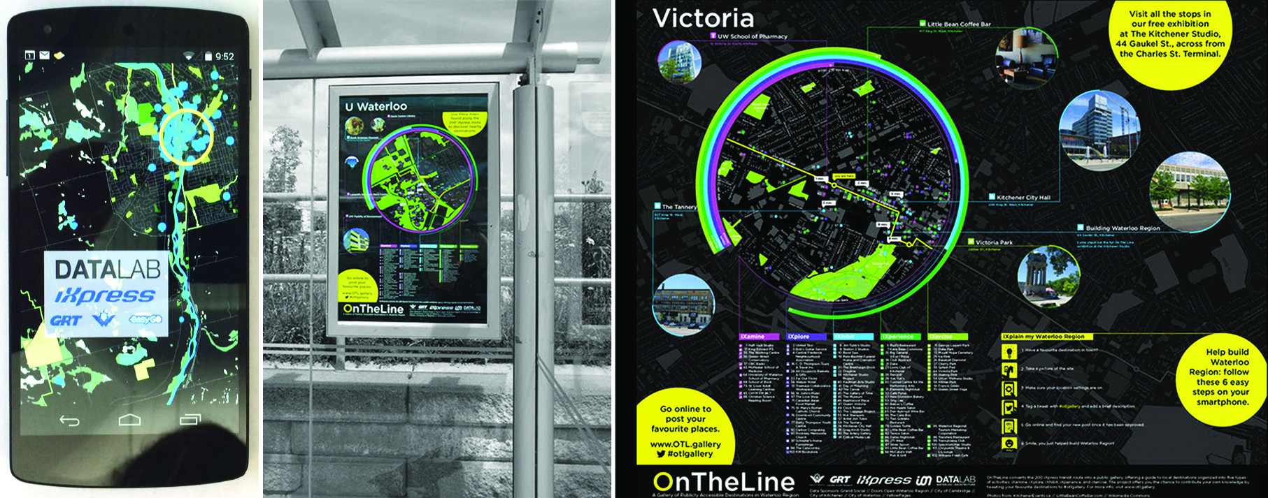 (Left)   OnTheLine.    The project offers a comprehensive framework for enabling the city as a site of participation, thereby offering a mechanism by which to sense the city and enable its strategic development and management. Project and images by DATAlab, School of Architecture, University of Waterloo  (Right)   OnTheLine's Datascape.  Two primary data streams, curated and emergent, are combined into a suite of physical installations and digital interfaces