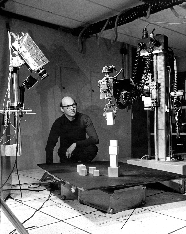 Marvin Minsky, MIT Artificial Intelligence Laboratory , 1968. MIT Museum © J. Paul Getty Trust