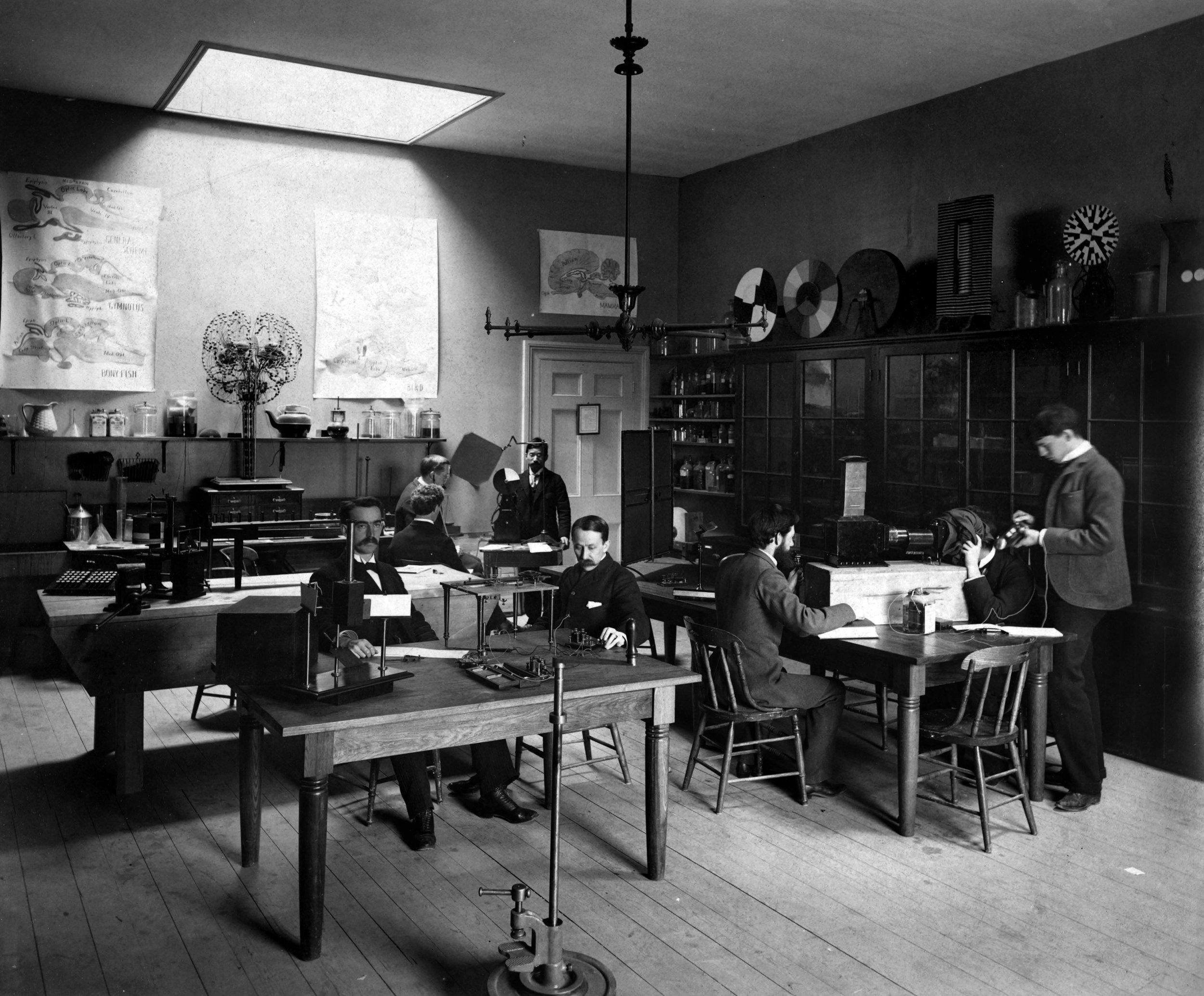 Psychological Laboratory in Dane Hall ,   1892. Harvard University Archives