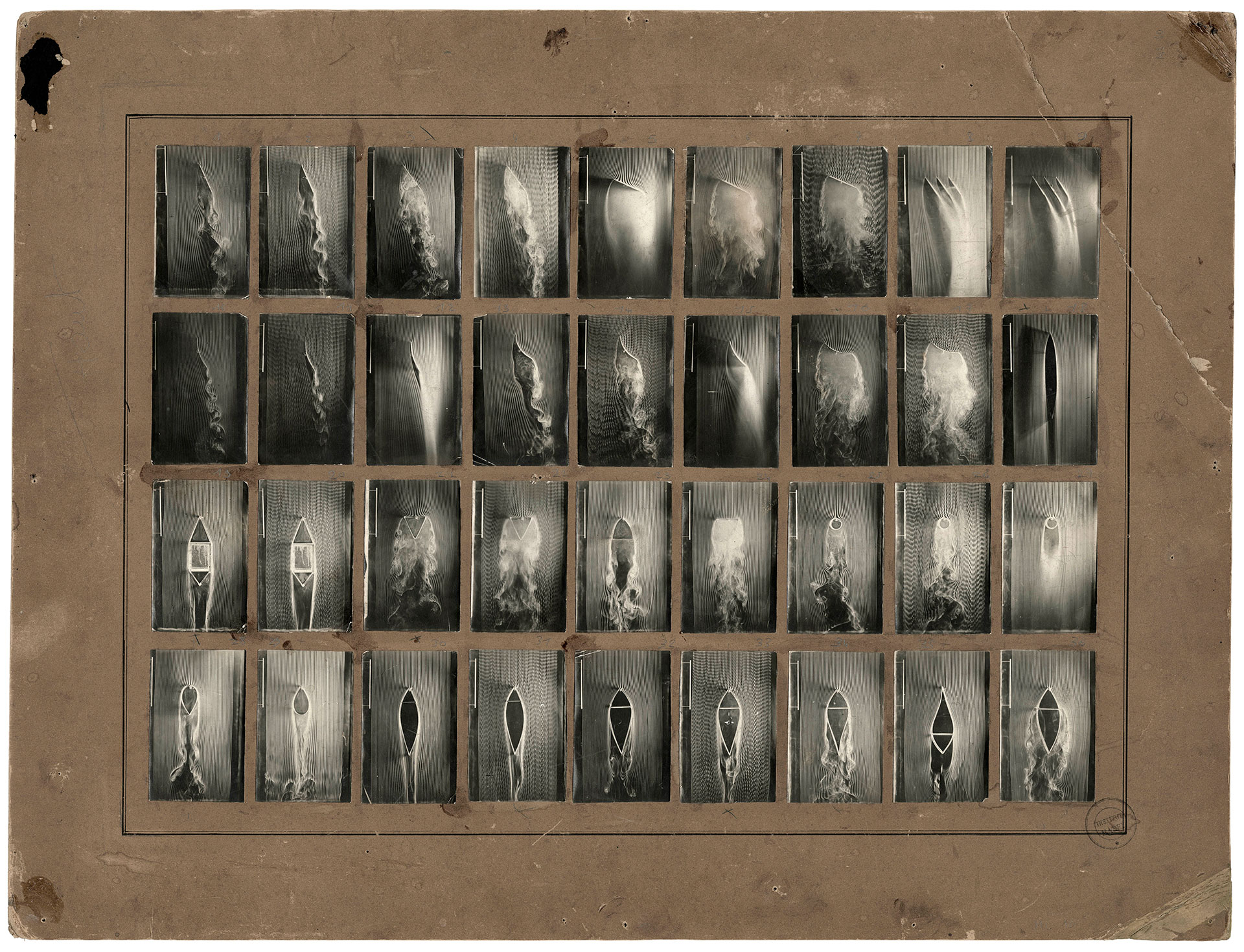 Detail of a contact sheet of original photographs showing smoke machines in operation, 1901. Photograph by Étienne-Jules Marey and Stéphane Dabrowski. No. ML 10, Collection of the Cinémathèque française, Paris
