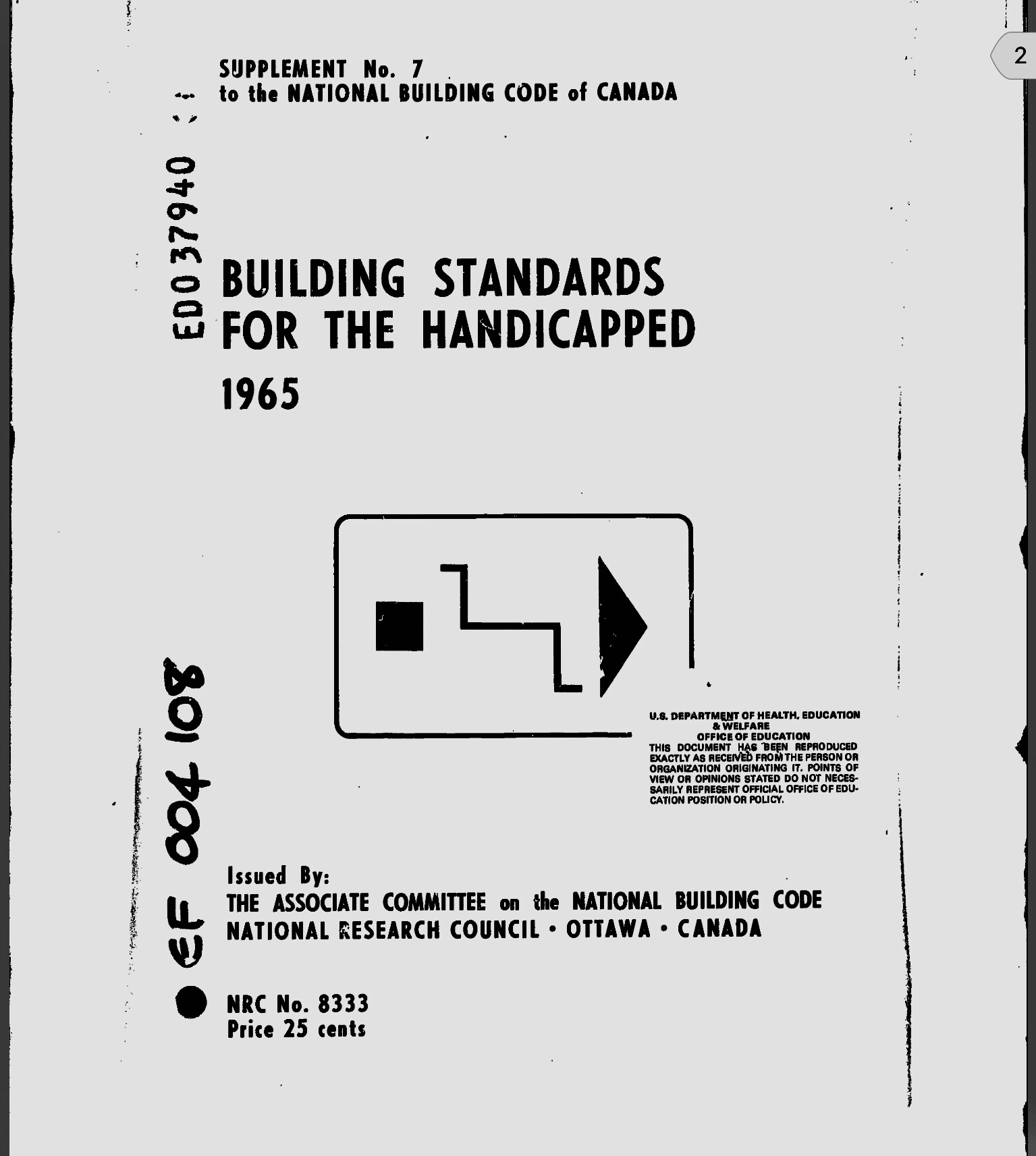 Cover of  Building Standards for the Handicapped , 1965