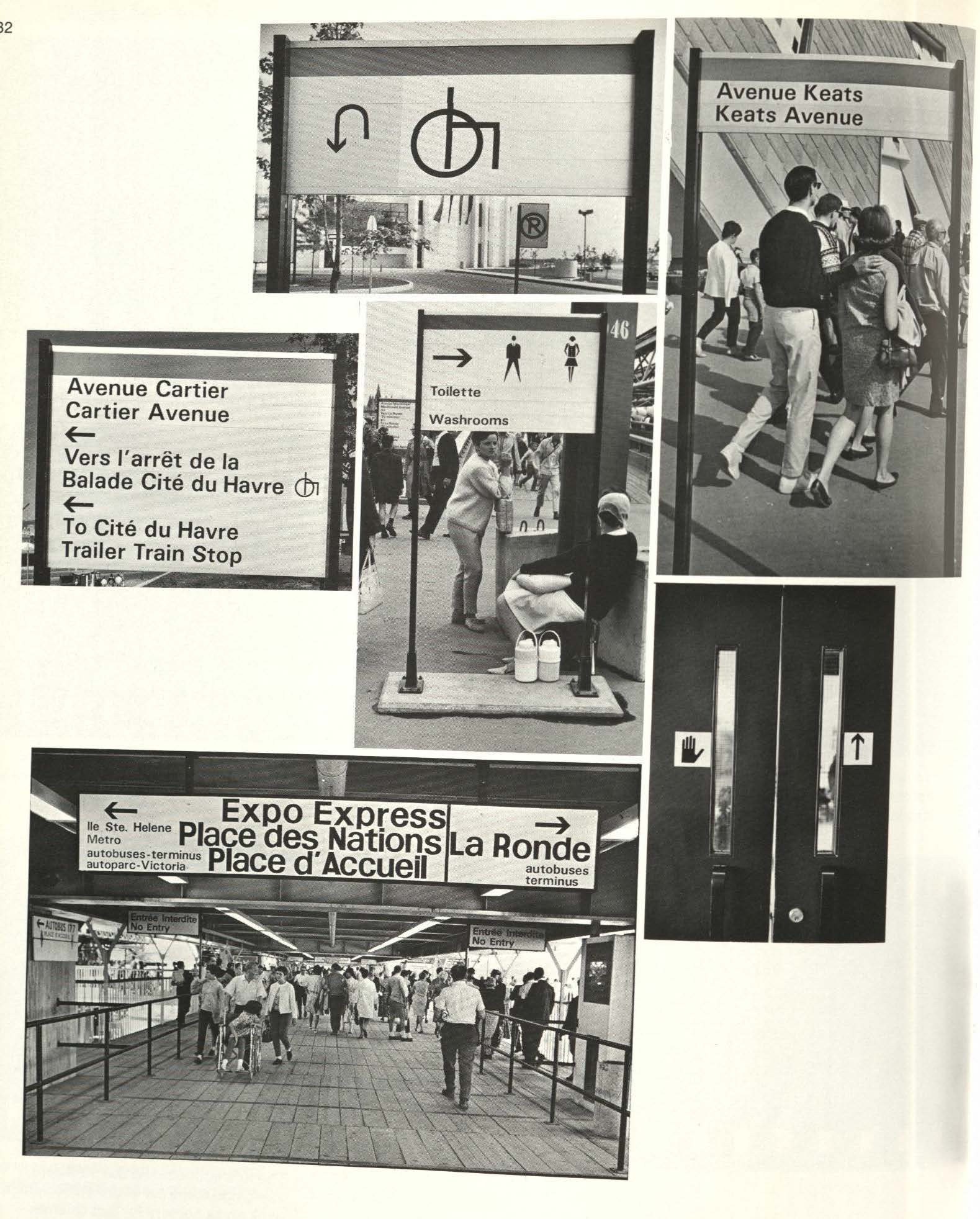 Paul Arthur's wayfinding signage at Expo 67 includes the handicapped symbol seen on the top left. Photographs by John de Visser, Harold Whyte, Peter Varley in  This was Expo  by Robert Fulford (Toronto: McClelland and Stewart), 1968 © Canadian Centre for Architecture