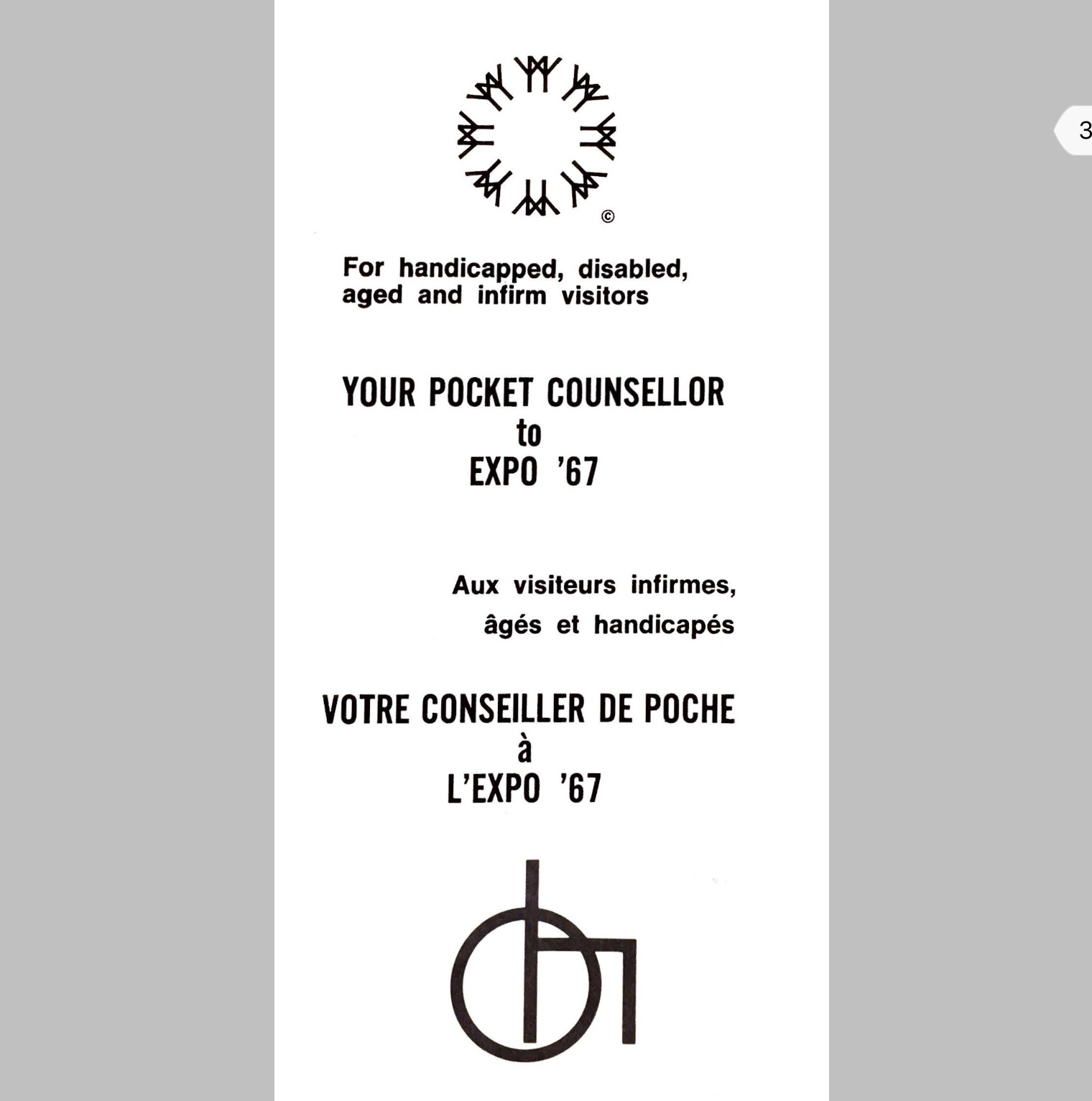 Cover of  Your Pocket Counsellor  for Expo '67, 1967. Image courtesy of Bruno Paul Stenson,Private Collection