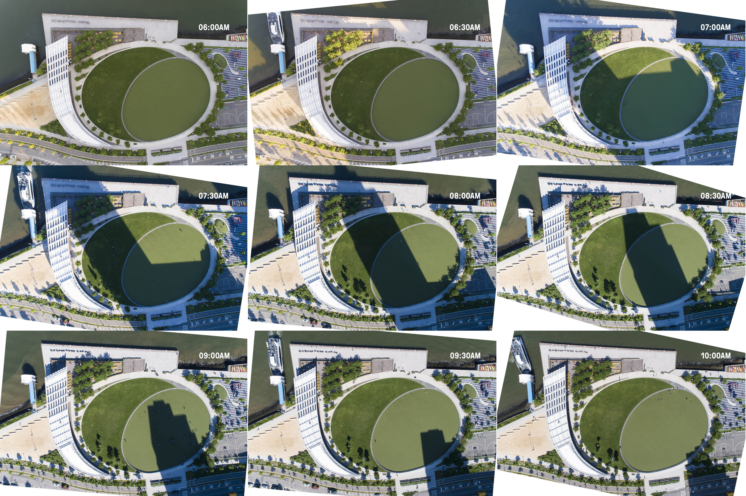 UAV Stills of the Central Green at Hunter's Point South Waterfront Park. Images by Bill Tatham/SWA and XL Lab