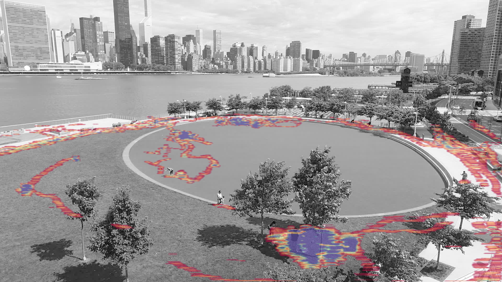 Machine Learning Heat Map of Hunter's Point South Waterfront Park. Image by Bill Tatham/SWA and XL Lab