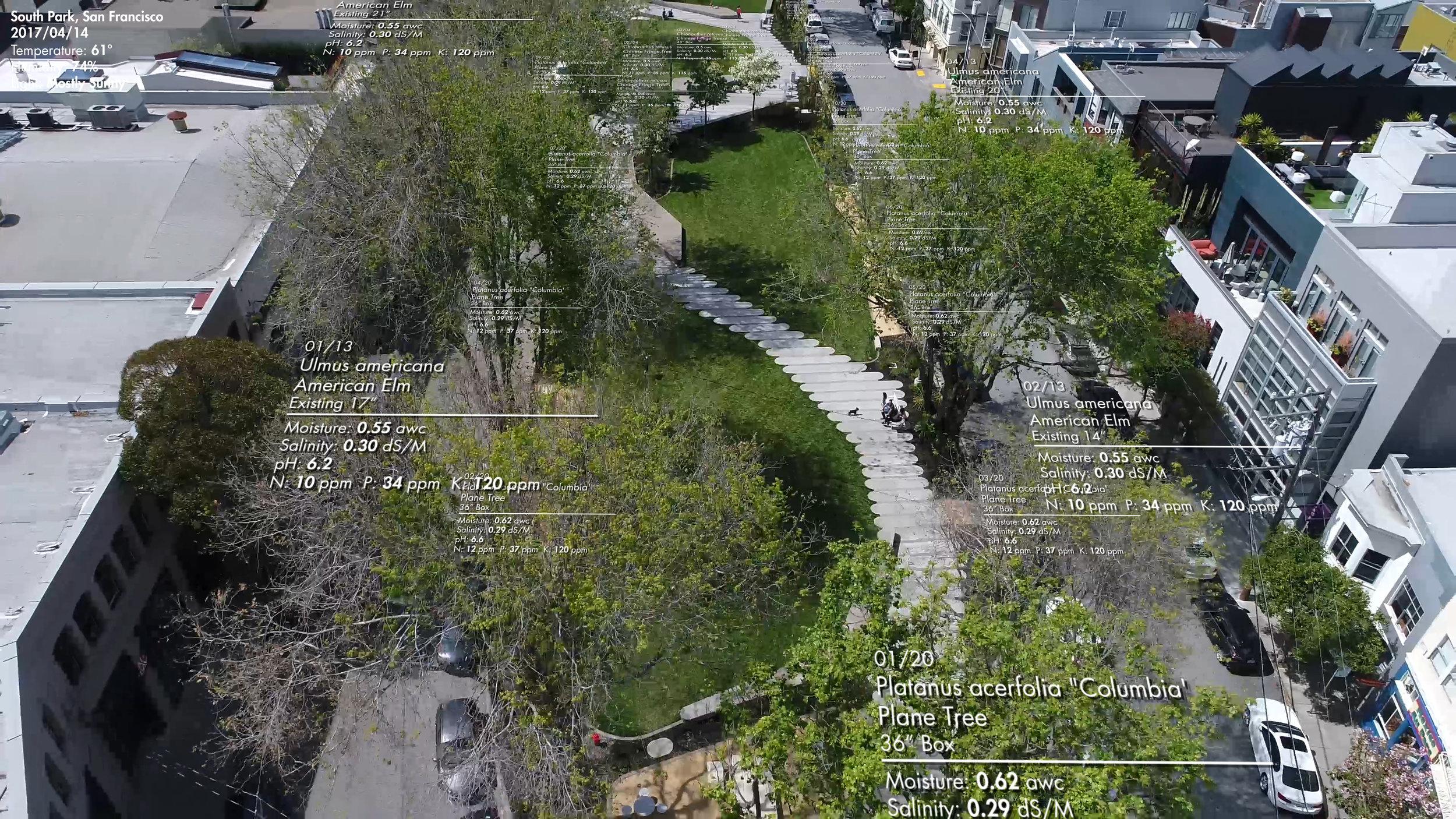 Mock-up for Visualizing Environmental Data at South Park. Image by Luke Hegeman