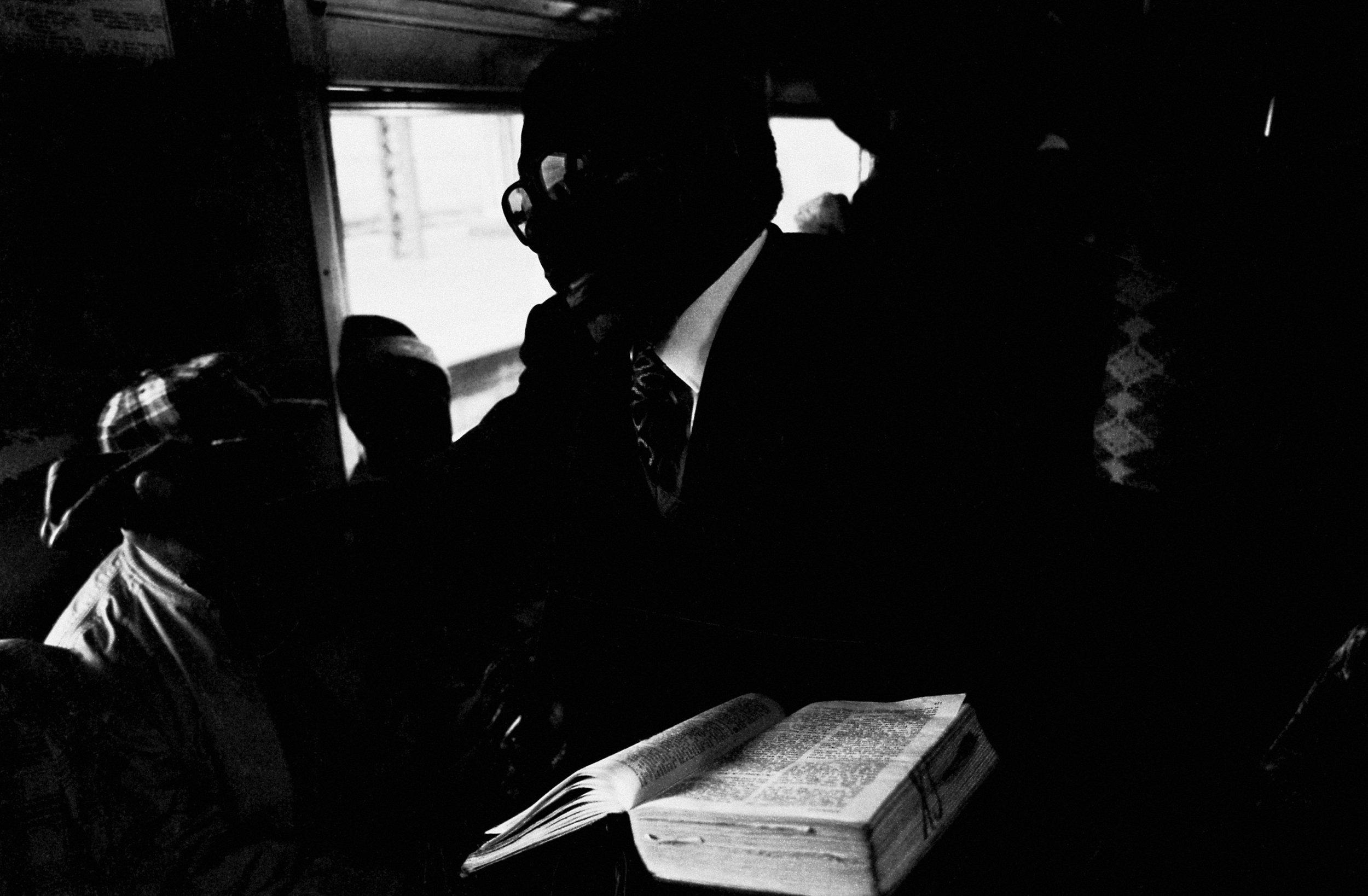 The Book, Johannesburg–Soweto Line , 1986. Photograph by Santu Mofokeng, ©Santu Mofokeng Foundation. Images courtesy Lunetta Bartz, MAKER, Johannesburg.