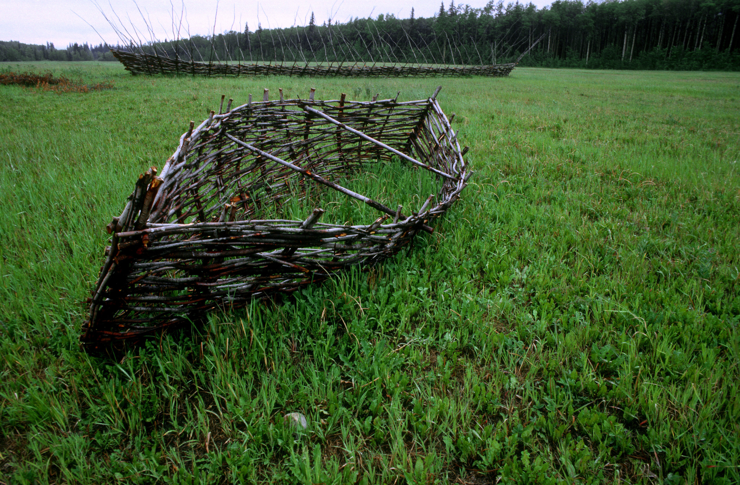 Peter von Tiesenhausen,  Ship  (background). Woven willow, 110' x 20' x 16'.  Vessel  (foreground). Woven willow, 18' x 3' x 6'. Artist's property in Demmit, Alberta, 1993. Photograph by Randy Adams