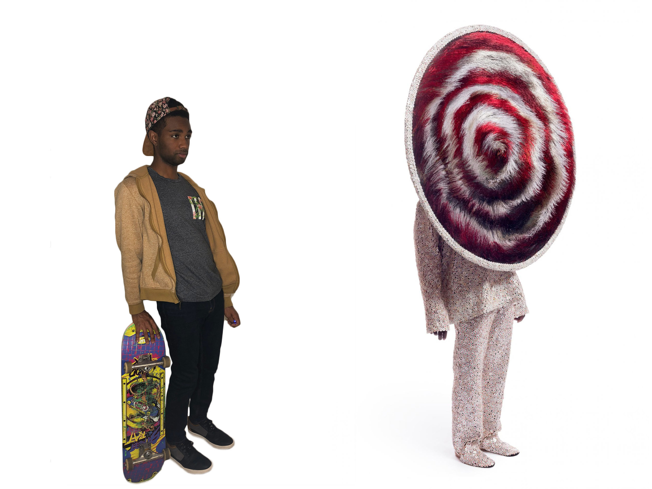 (left) Alex as Skater, 2018. Self Portrait by Alex Michell; (right) Nick Cave,  Soundsuit , 2015 mixed media including wire, bugle beads, buttons, fabric, metal and mannequin © Nick Cave. Courtesy of the artist and Jack Shainman Gallery, New York.