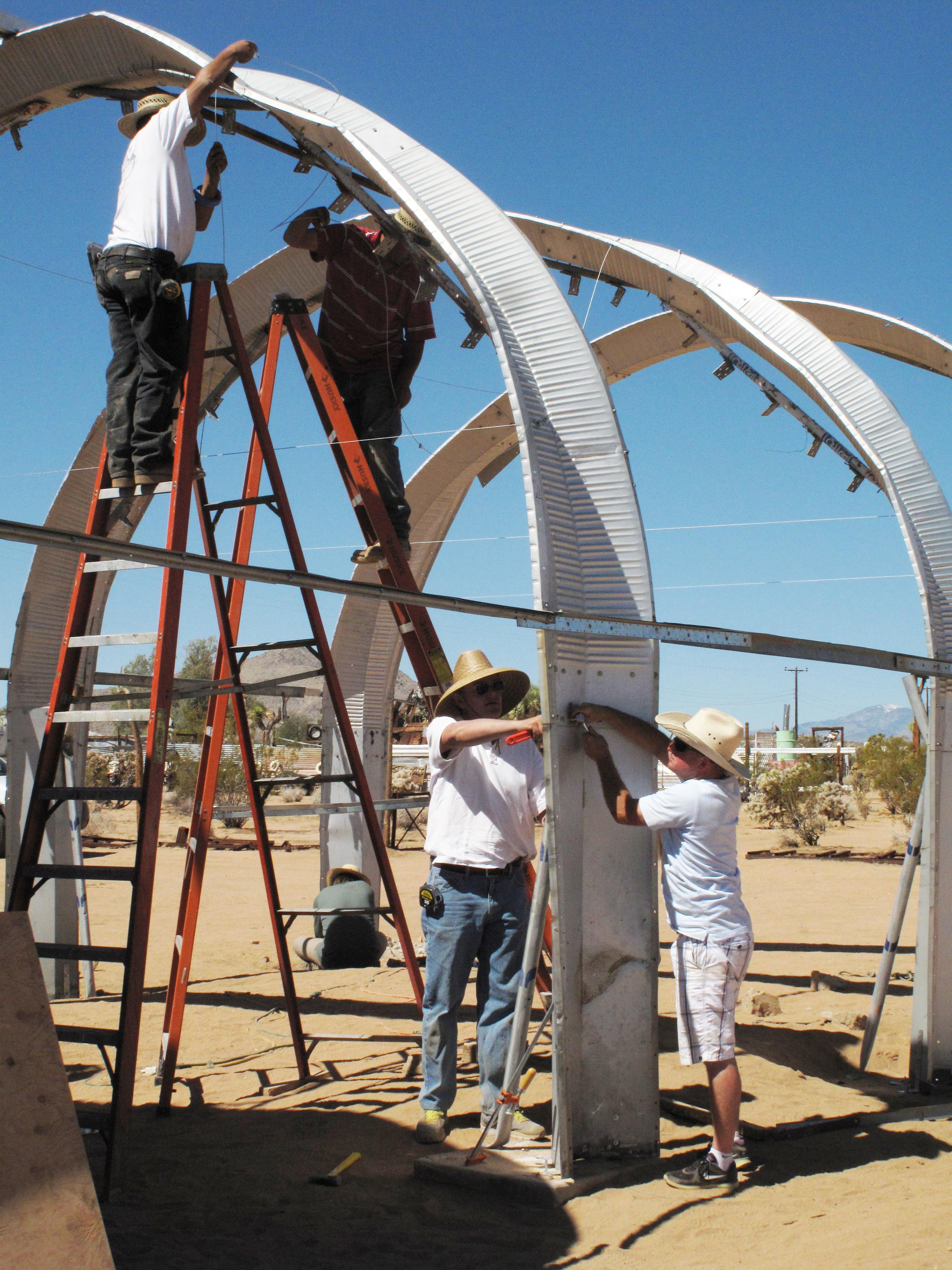 Maintenance at the Noah Purifoy Outdoor Desert Art Museum.