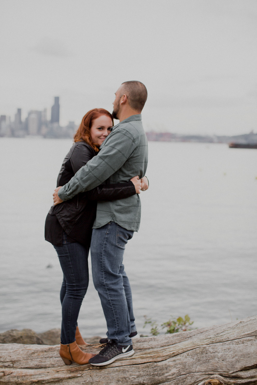 Alki Beach Seattle Waterfront Engagement Photos