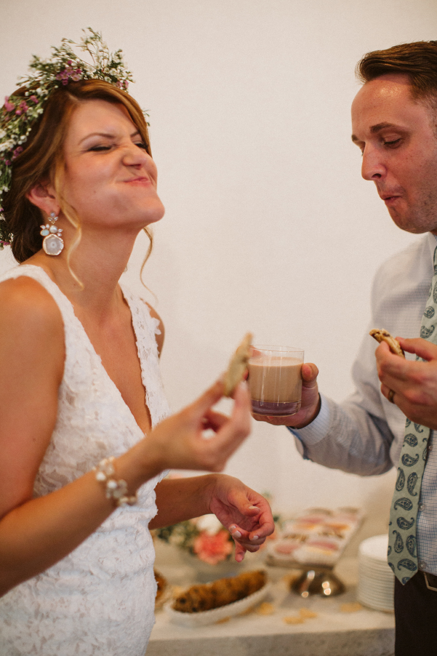 Seattle Wedding, Boho Bride BHLDN Bridal Gown Milk and Cookie Bar photos by Reese Ferguson