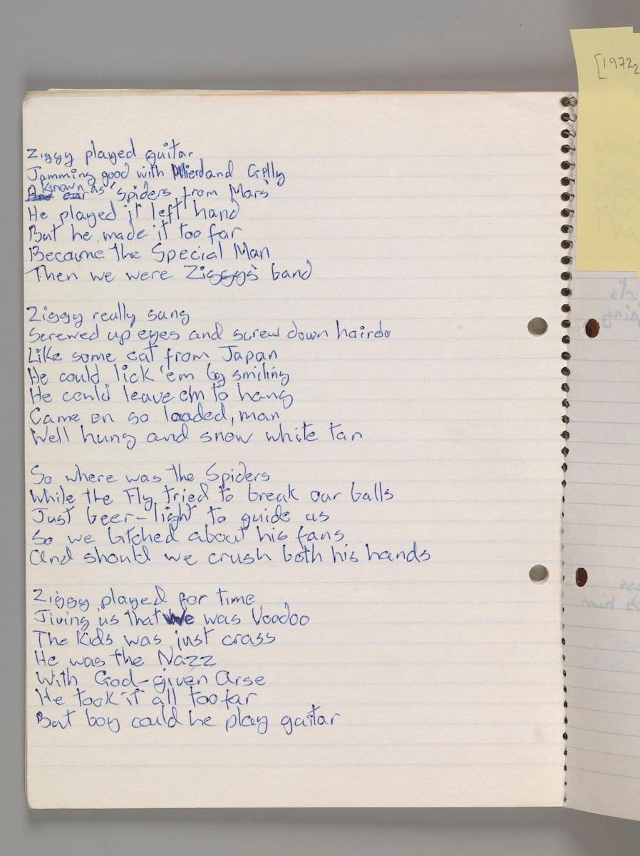 Original lyrics for 'Ziggy Stardust,' by David Bowie, 1972.jpg