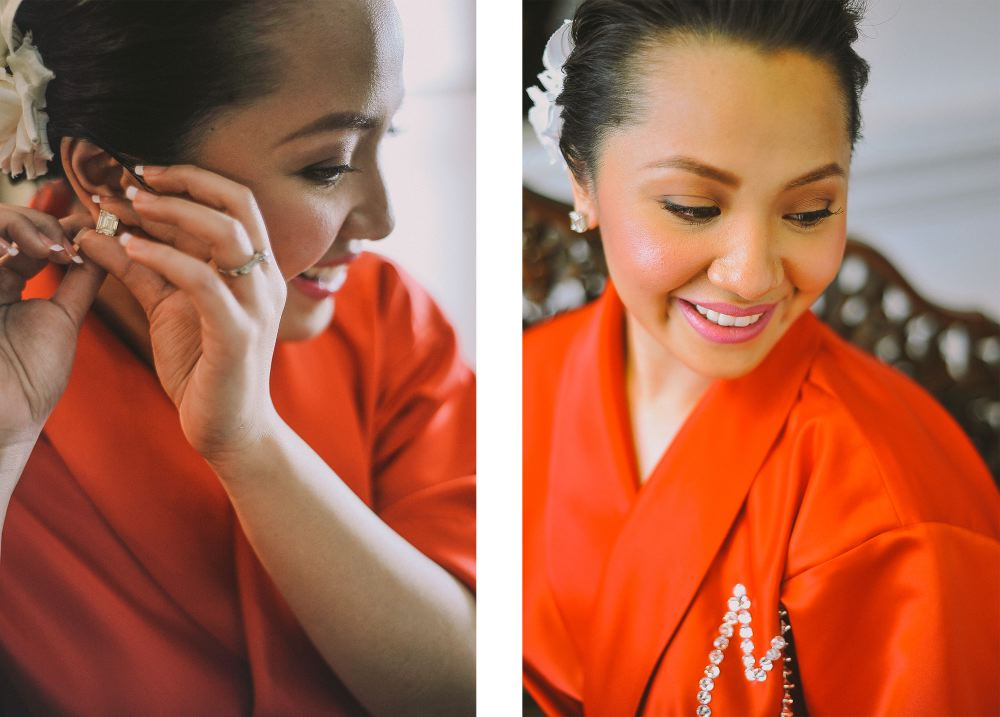 san   diego wedding photographer | collage of woman in red robe putting on earrings
