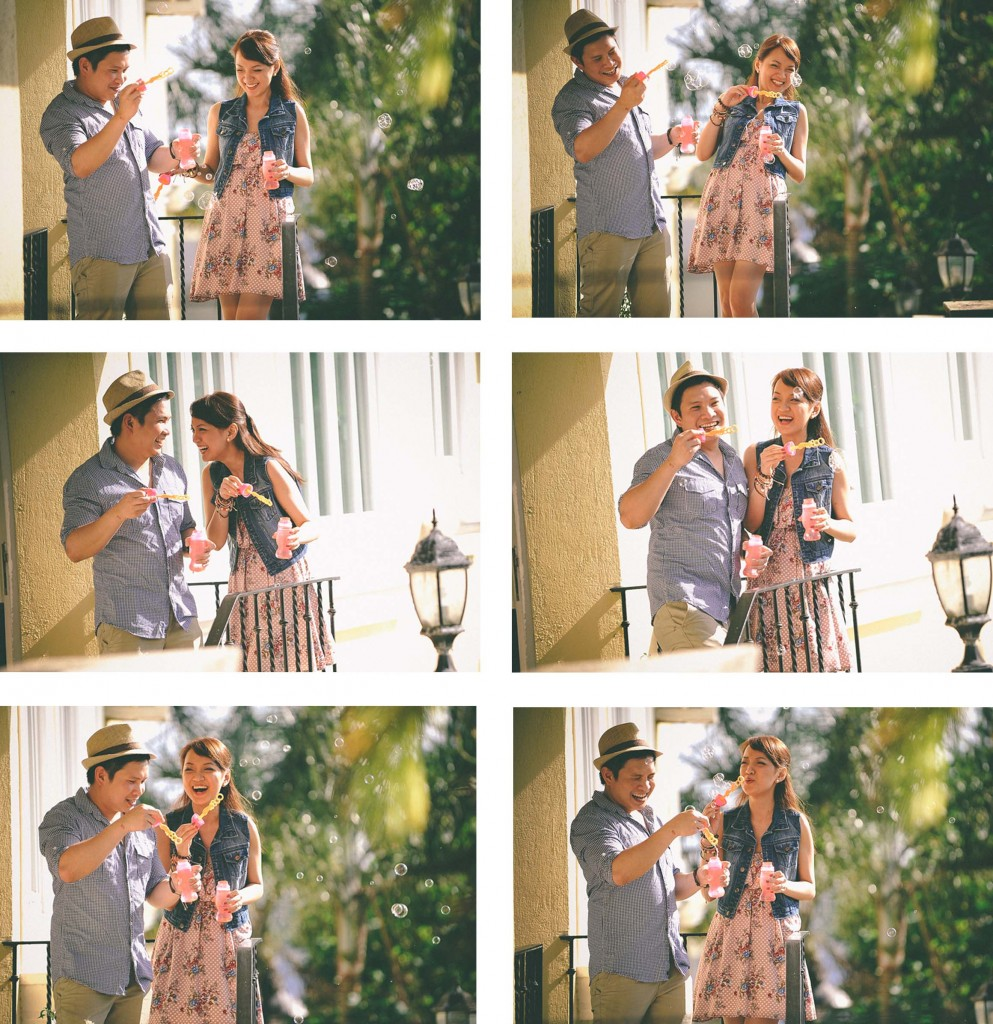 san   diego wedding photographer   collage of man and woman playing with bubbles
