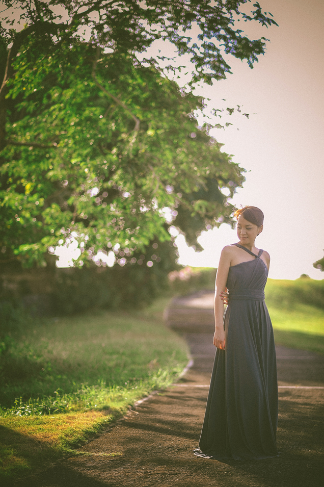 san   diego wedding photographer   woman in dress standing in walkway of grassy   land
