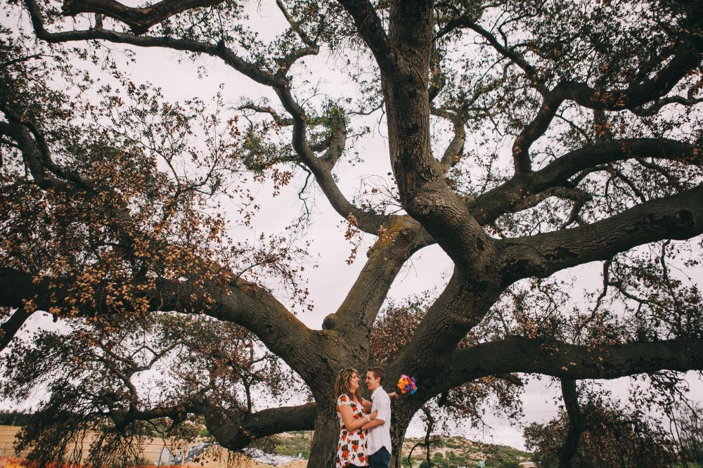 san   diego wedding photographer | couple under big tree with colorful bouquet of   flowers