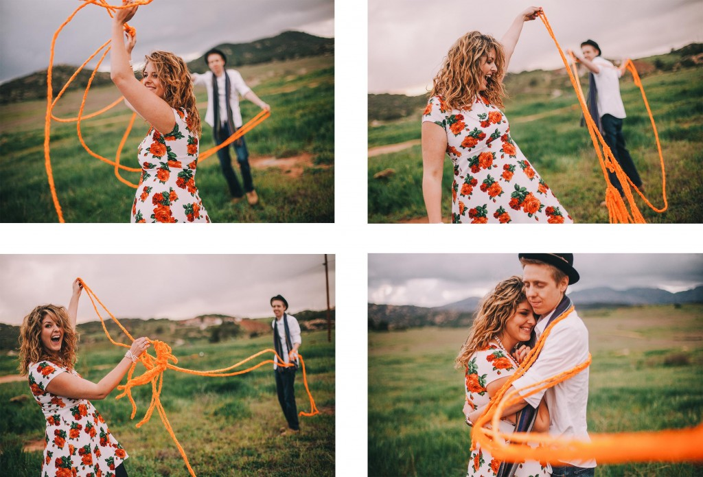 san   diego wedding photographer | collage of man and woman playing with large   orange yarn