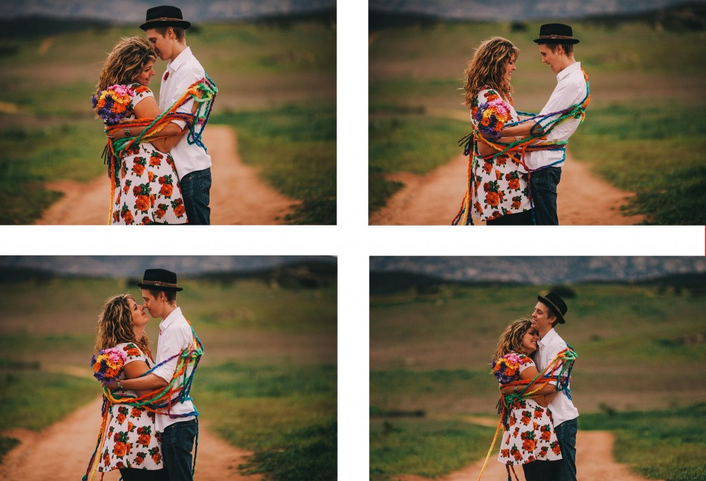 san   diego wedding photographer | collage of man and woman wrapped around multiple   colored yarns