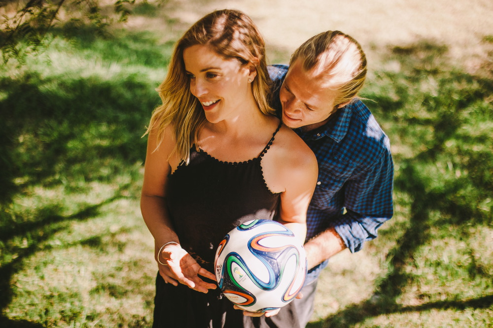 san   diego wedding photographer | blonde couple holding soccer ball