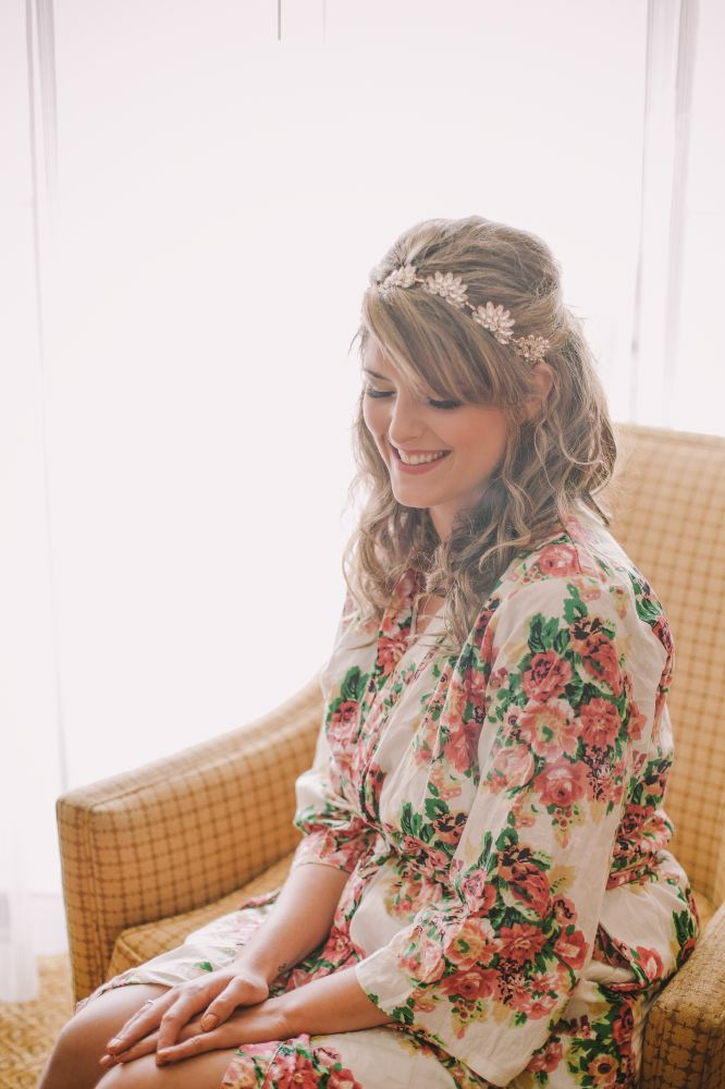 san   diego wedding photographer | exposed picture of woman in kimono and flower   crown sitting smiling looking down