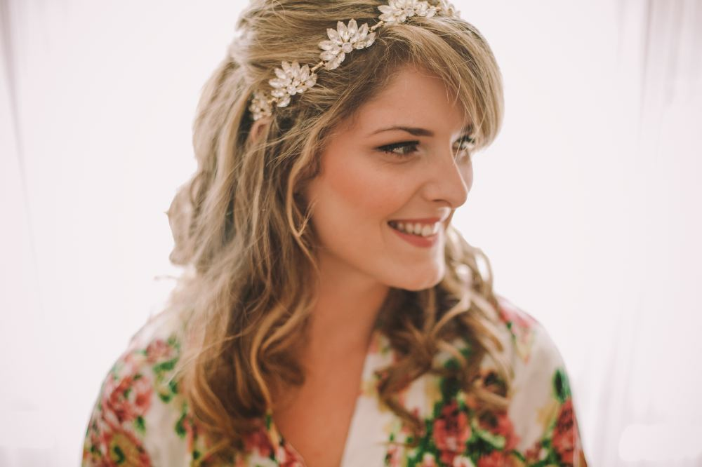 san   diego wedding photographer | woman in kimono and flower crown smiling looking   to her side