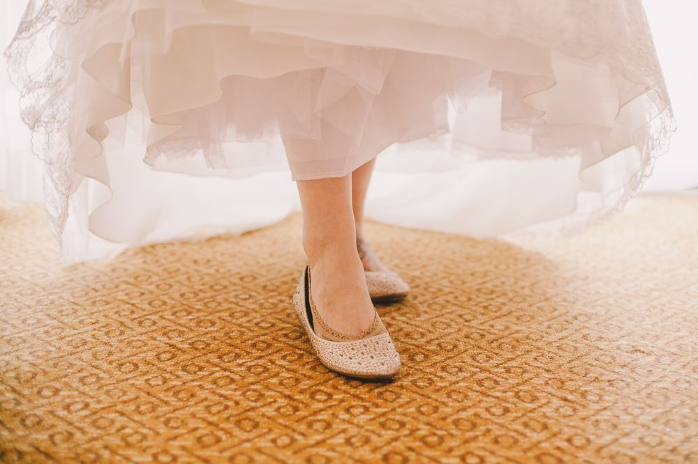 san   diego wedding photographer | feet and shoes underneath hem of dress