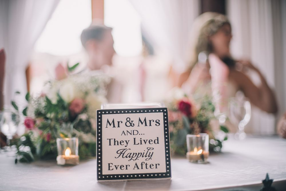 san   diego wedding photographer | table sign that says mr and mrs and they lived   happy ever after