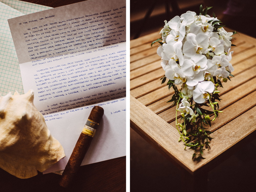 san   diego wedding photographer | collage of handwritten letter and bouquet of   white flowers