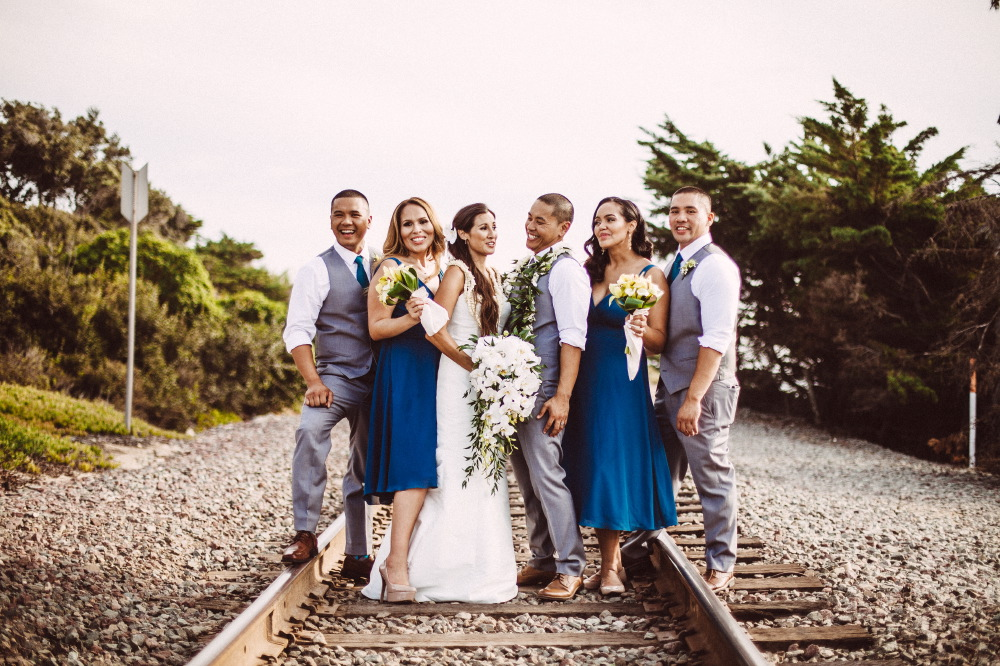 san   diego wedding photographer | bride and groom on railroad
