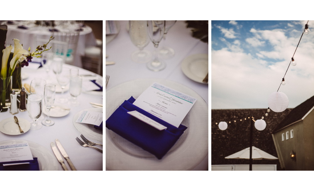 san   diego wedding photographer | collage of table and lighting set up