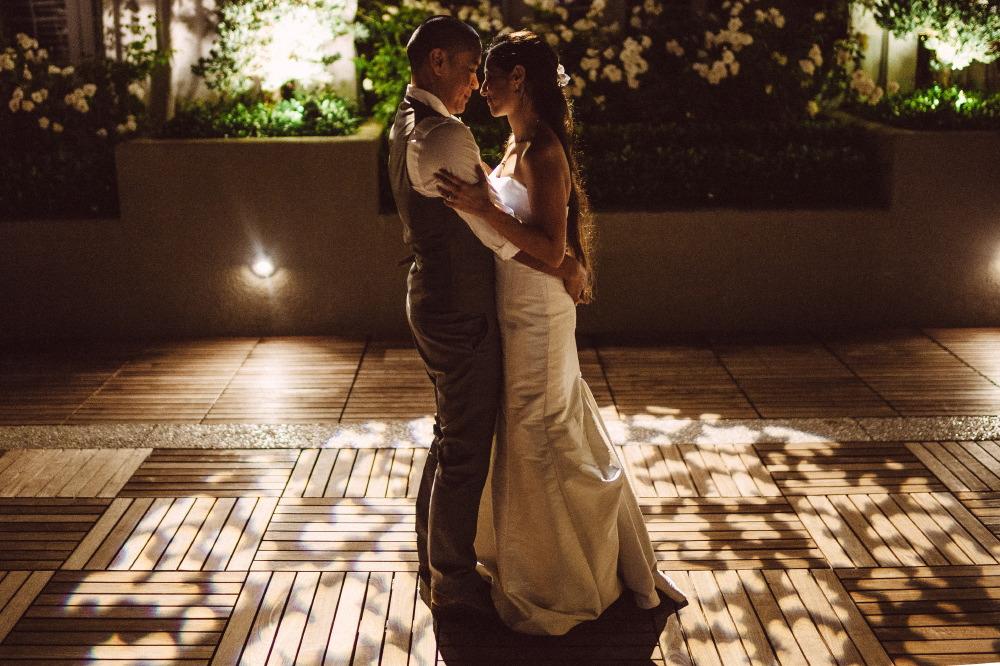 san   diego wedding photographer | bride and groom standing on wooden floor
