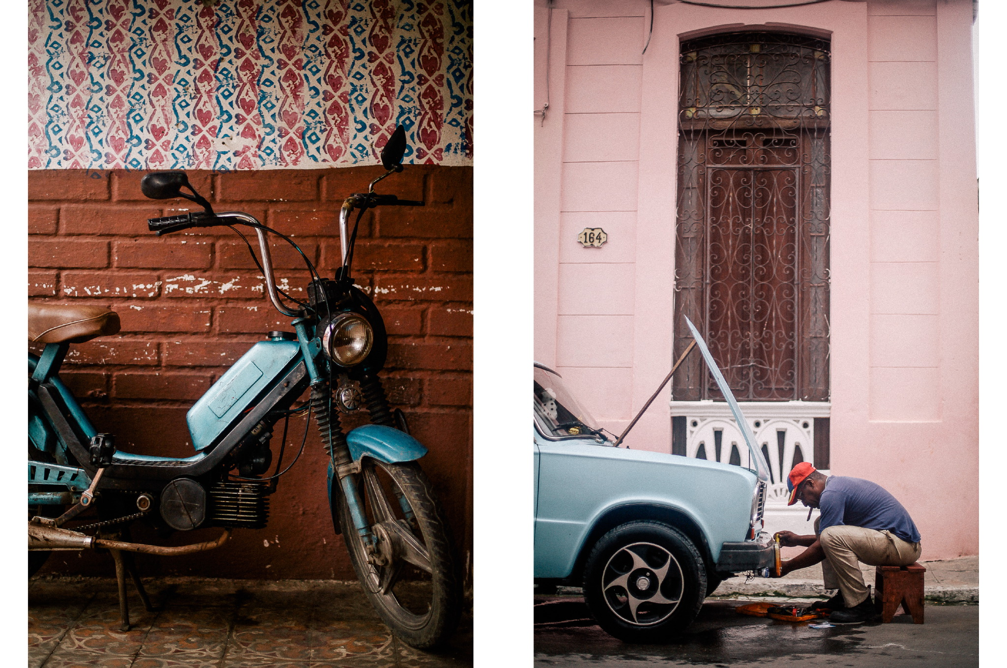 san diego wedding   photographer | collage of electric scooter and man fixing car