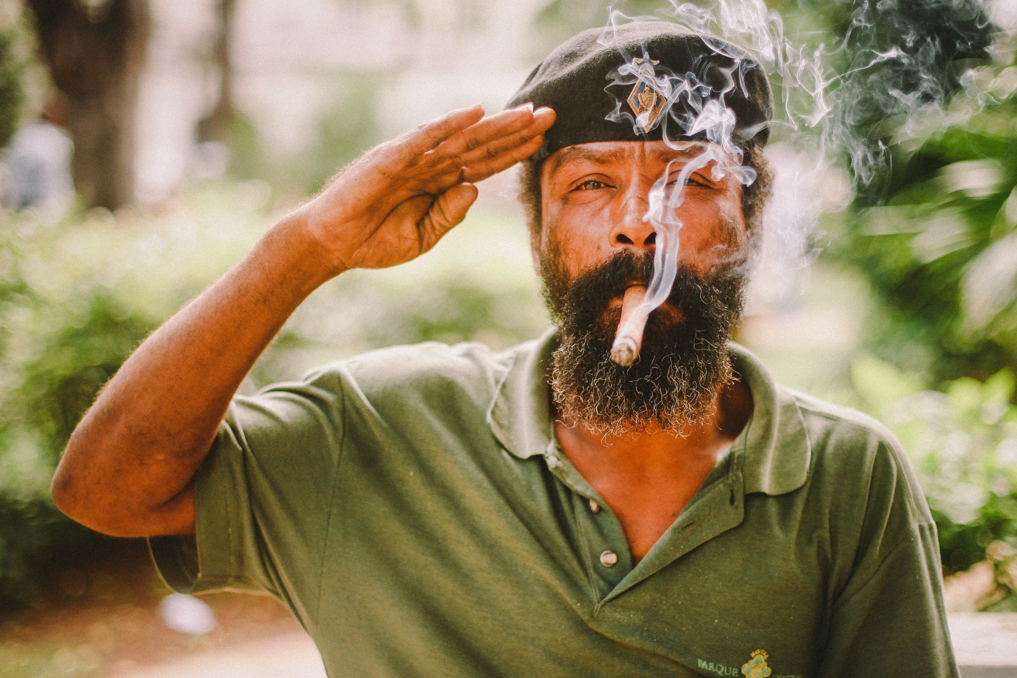 san diego wedding   photographer | bearded man in hat with cigar saluting