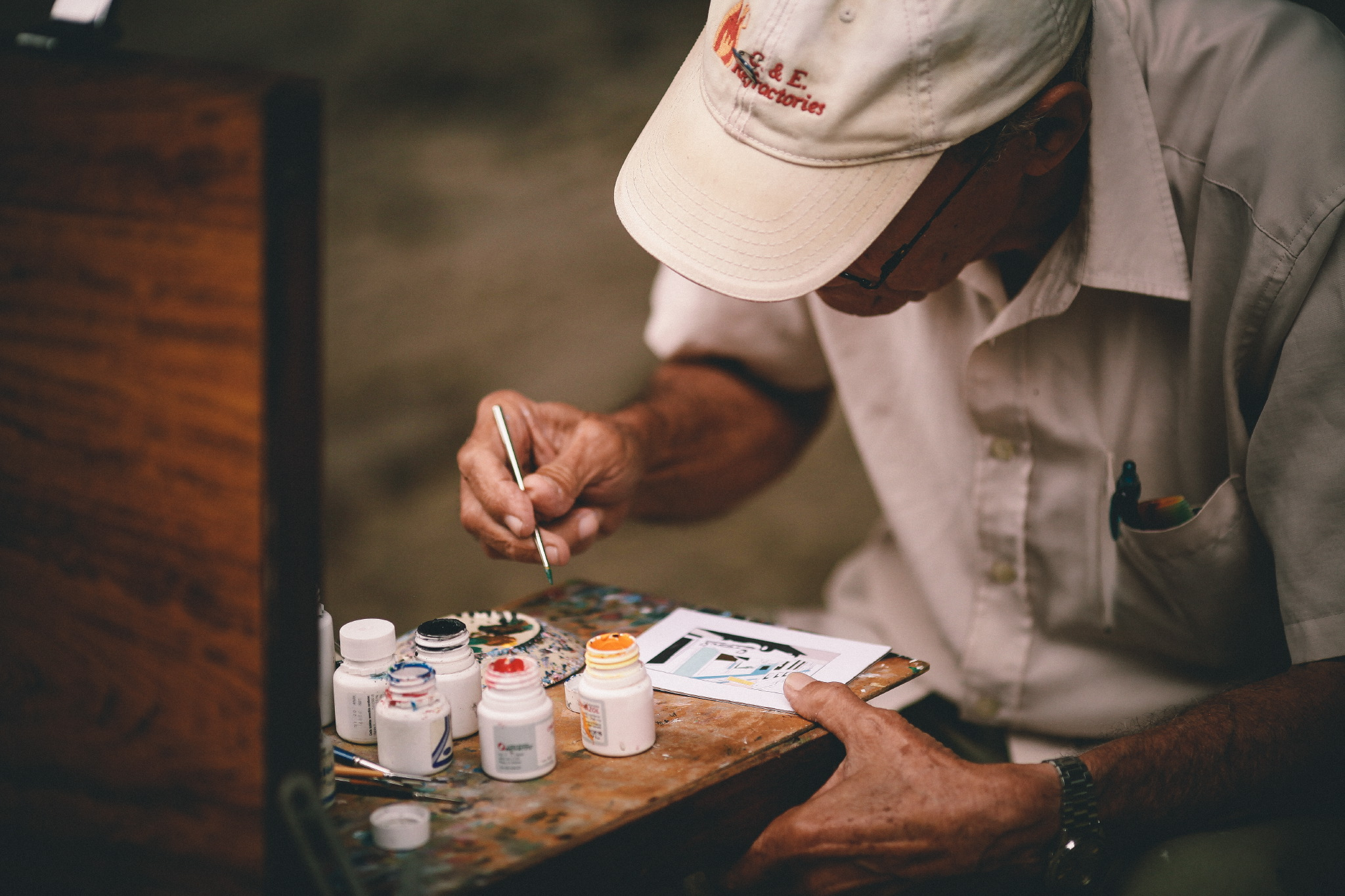 san diego wedding   photographer | person outside painting