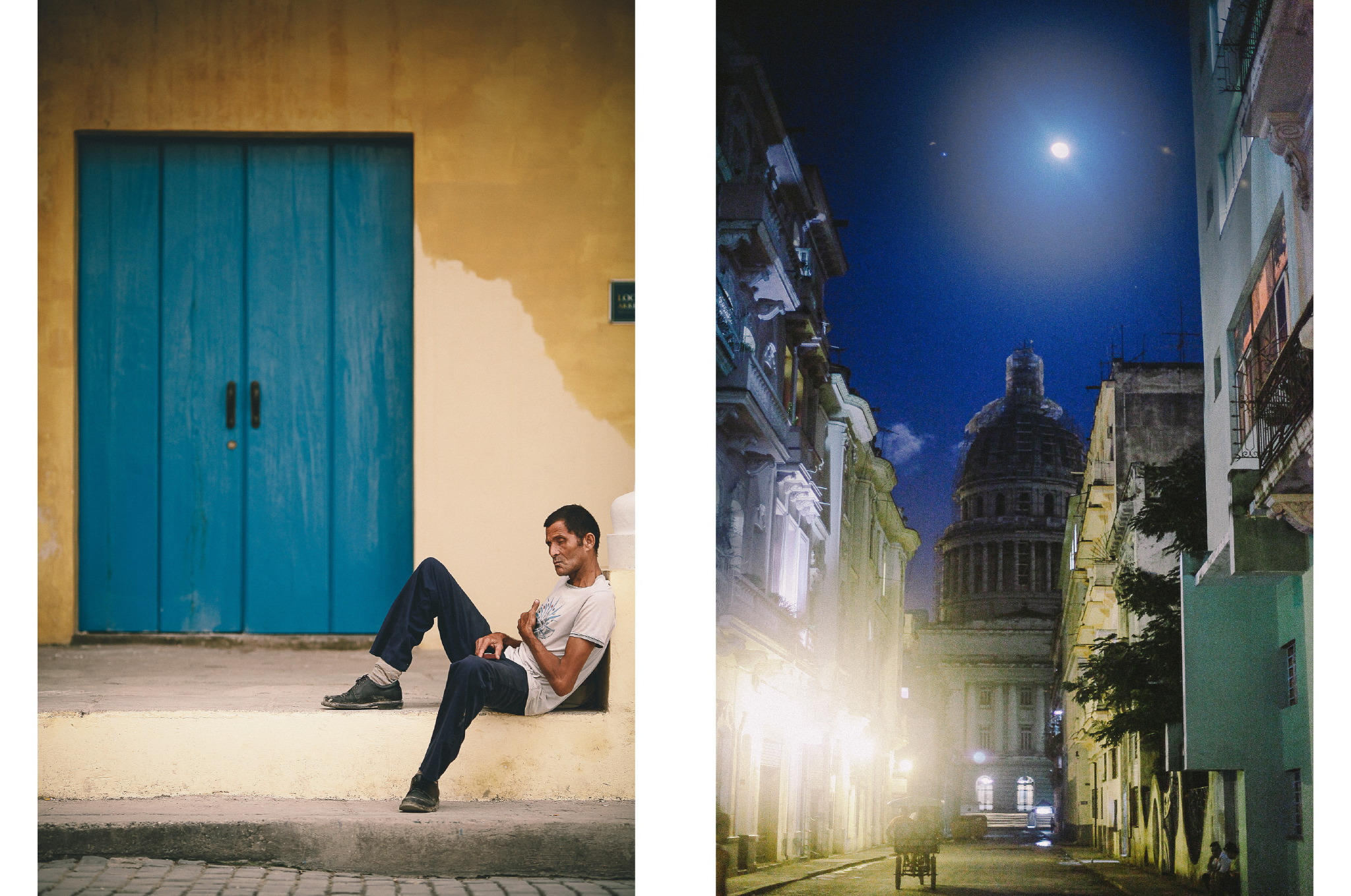 san diego wedding   photographer | collage of man in white shirt in front of building entrance   and cuban street at night