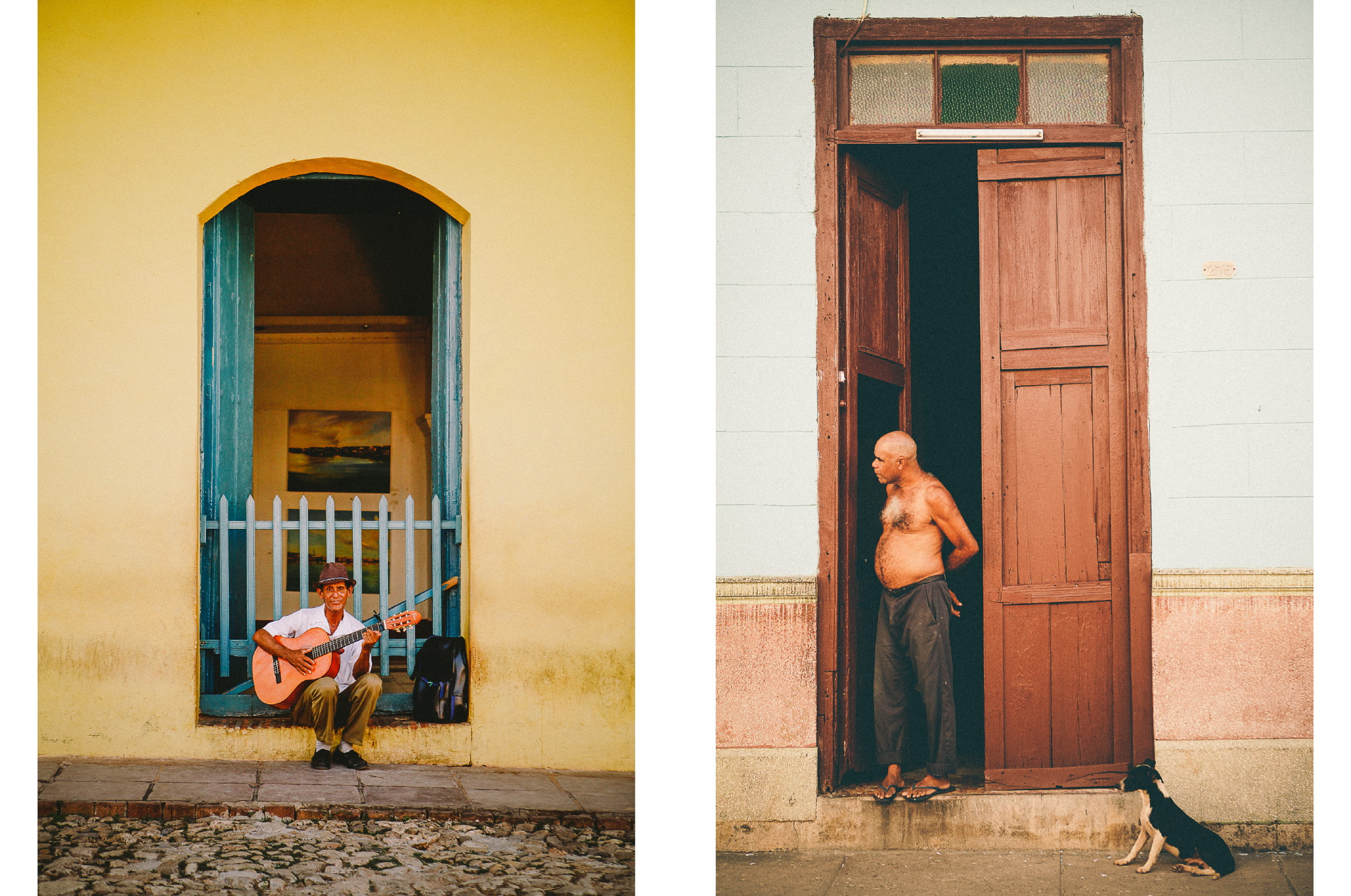 san diego wedding   photographer | collage of man with guitar outside yellow building and old man   by doorway