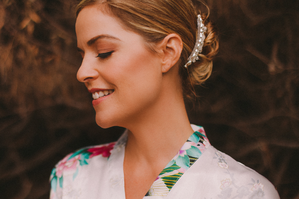 san diego wedding   photographer | woman in floral kimono smiling with head tilted