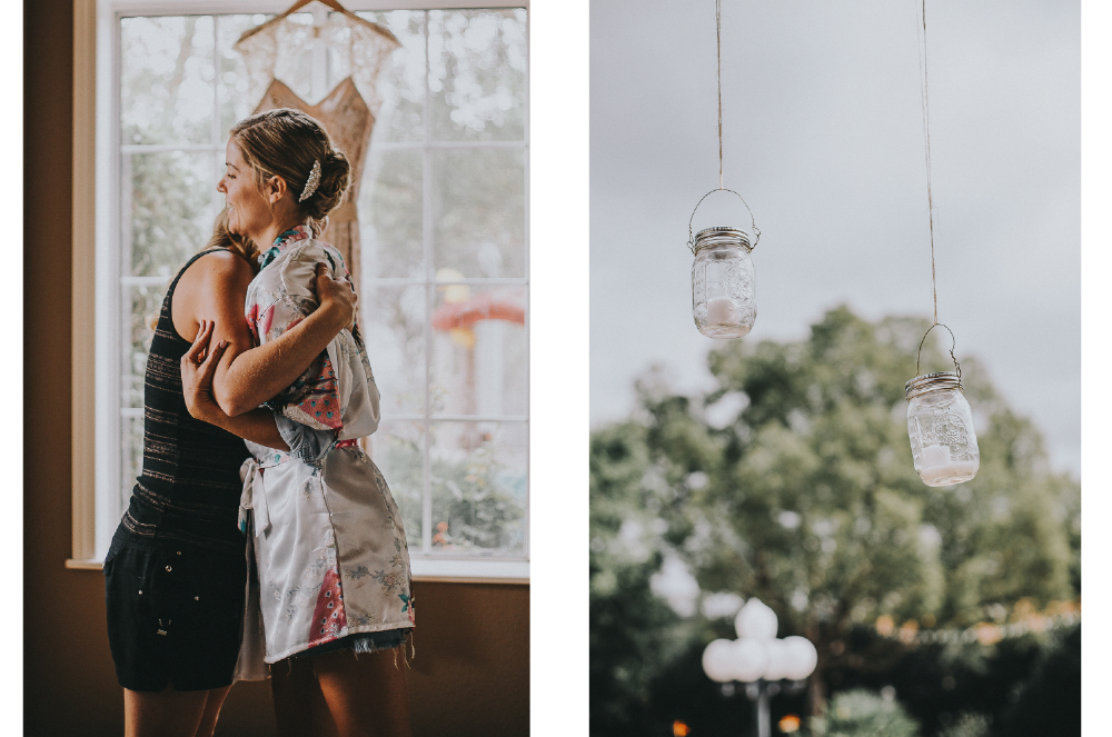 san diego wedding   photographer | collage of women hugging and jars hanging from a wire