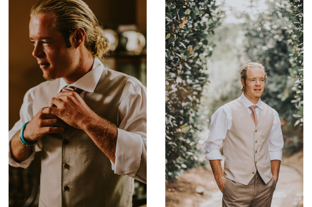 san diego wedding   photographer | collage of man in vest fixing tie and standing looking out