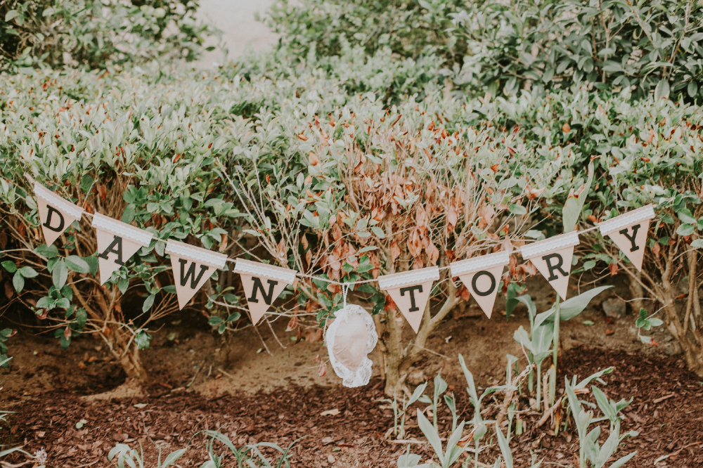 "san diego wedding   photographer | streamers that say ""dawn tory"" on them"