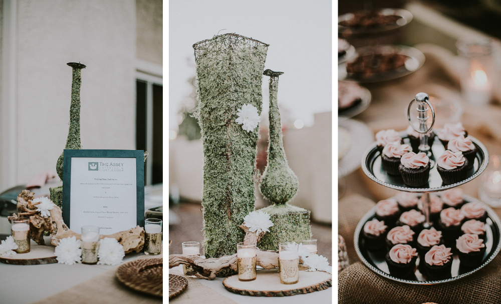 san diego wedding   photographer | collage of table set up with cupcakes