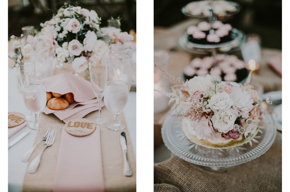 san diego wedding   photographer | collage of table set up with bread and flower arrangement