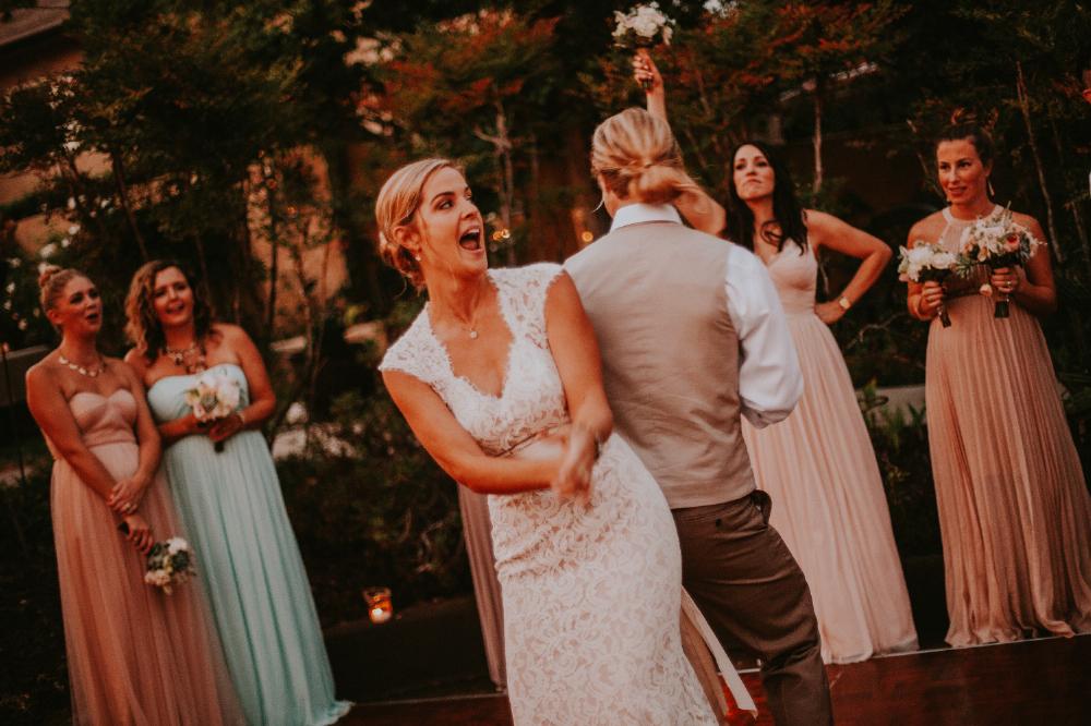 san diego wedding   photographer | bride and groom back to   back dancing on dance floor