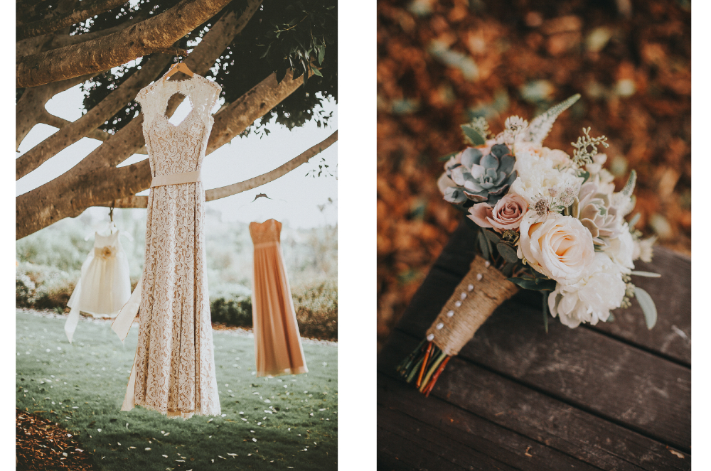 san diego wedding   photographer | collage of dresses hanging on a tree branch with bouquet of   flowers