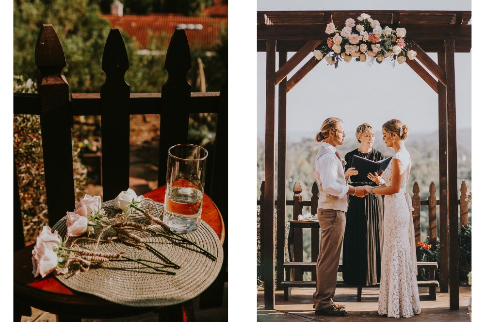 san diego wedding   photographer | collage of table with a glass of water and roses and bride and   groom under gate